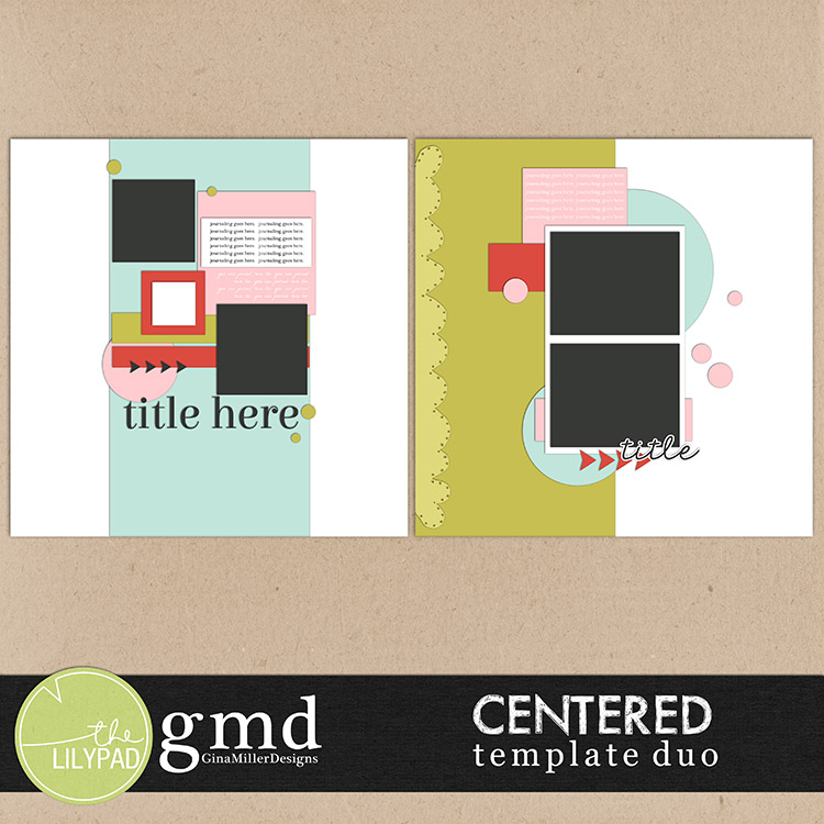 Centered750 template duo: centered | digital scrapbooking