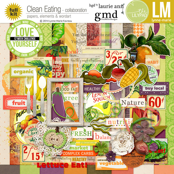 LM gmiller LaurieAnn CleanEating KITpv clean eating collaboration | digital scrapbooking