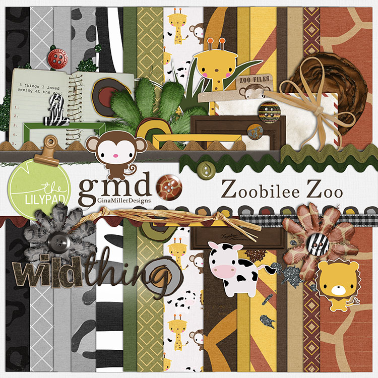 Zoo750 new digital scrap goodies | gina miller designs