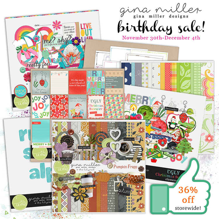 Gina Miller Designs BYOC Sale Coupon Digital Scrapbooking