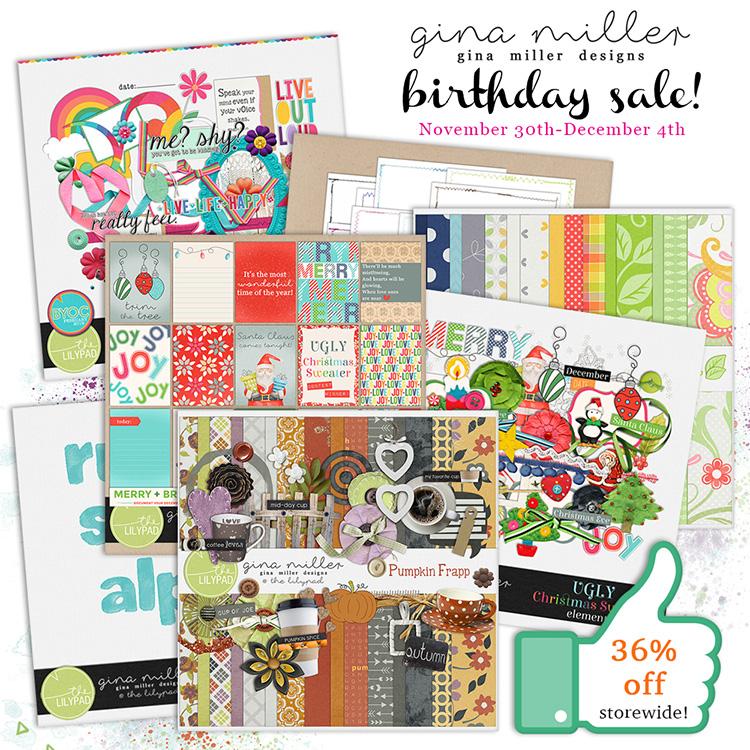 Gina Miller Designs BYOC Sale Coupon Digital Scrapbooking